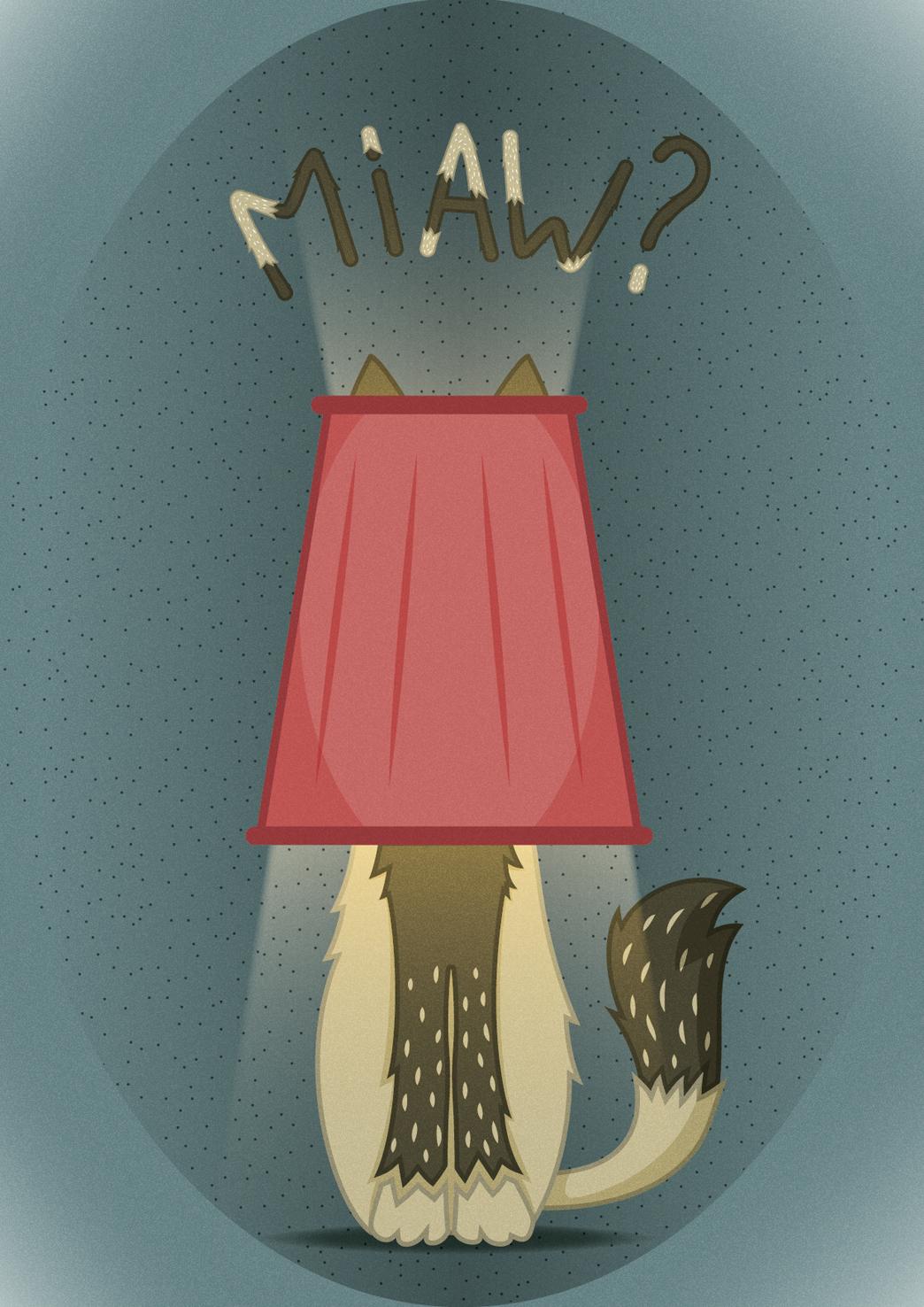 """Le chat-lampe : """"le champe""""."""
